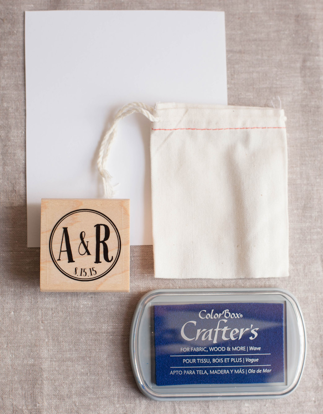 DIY Tutorial! Learn how to stamp a cotton favor bag!