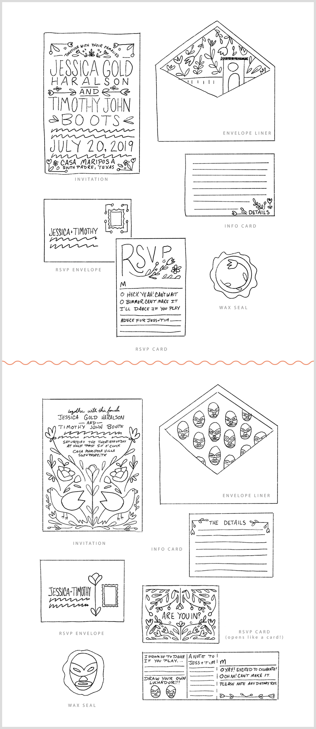 Design sketches for the custom wedding invitation designs, from a custom stationery designer and illustrator