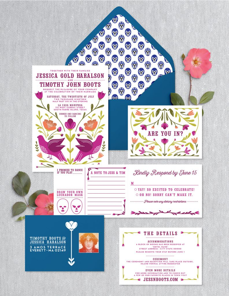custom wedding invitation suite mockup created from the chose sketch, the next step in the custom invitation design process when working with an invitation designer and illustrator
