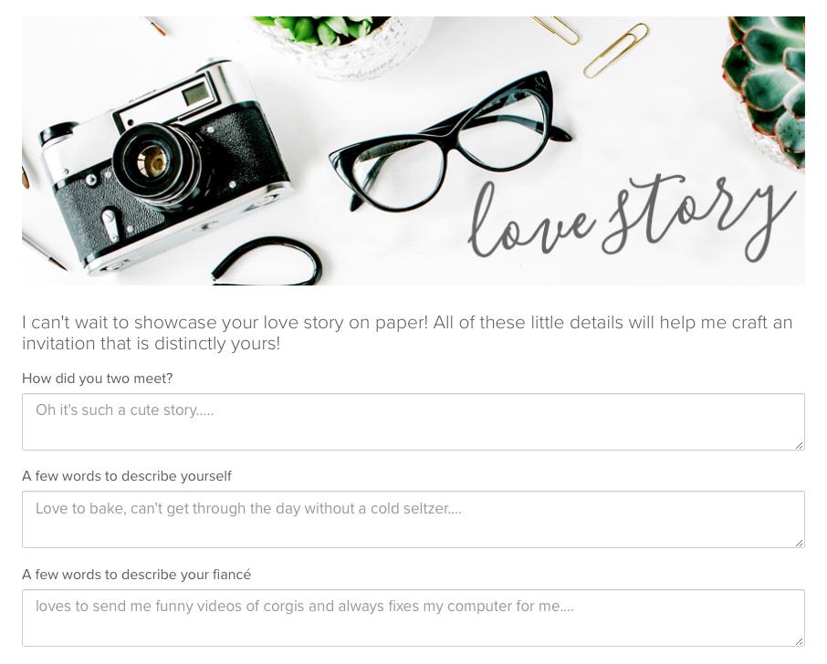 custom invitation design questionaire,