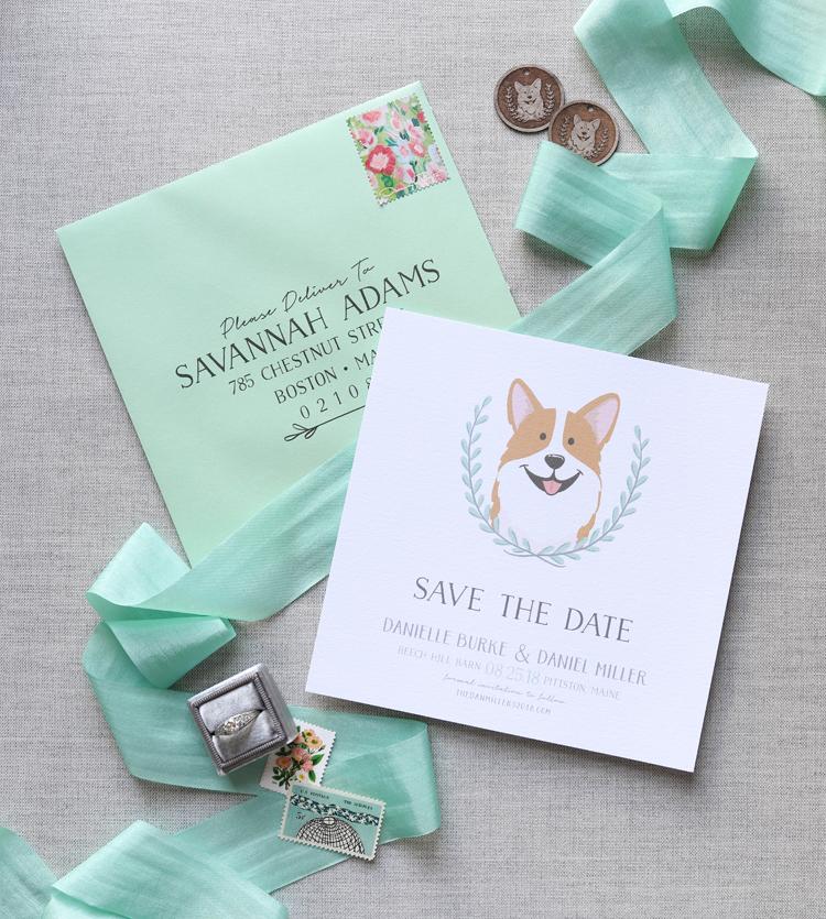 custom pet portrait save the date and wedding invitations