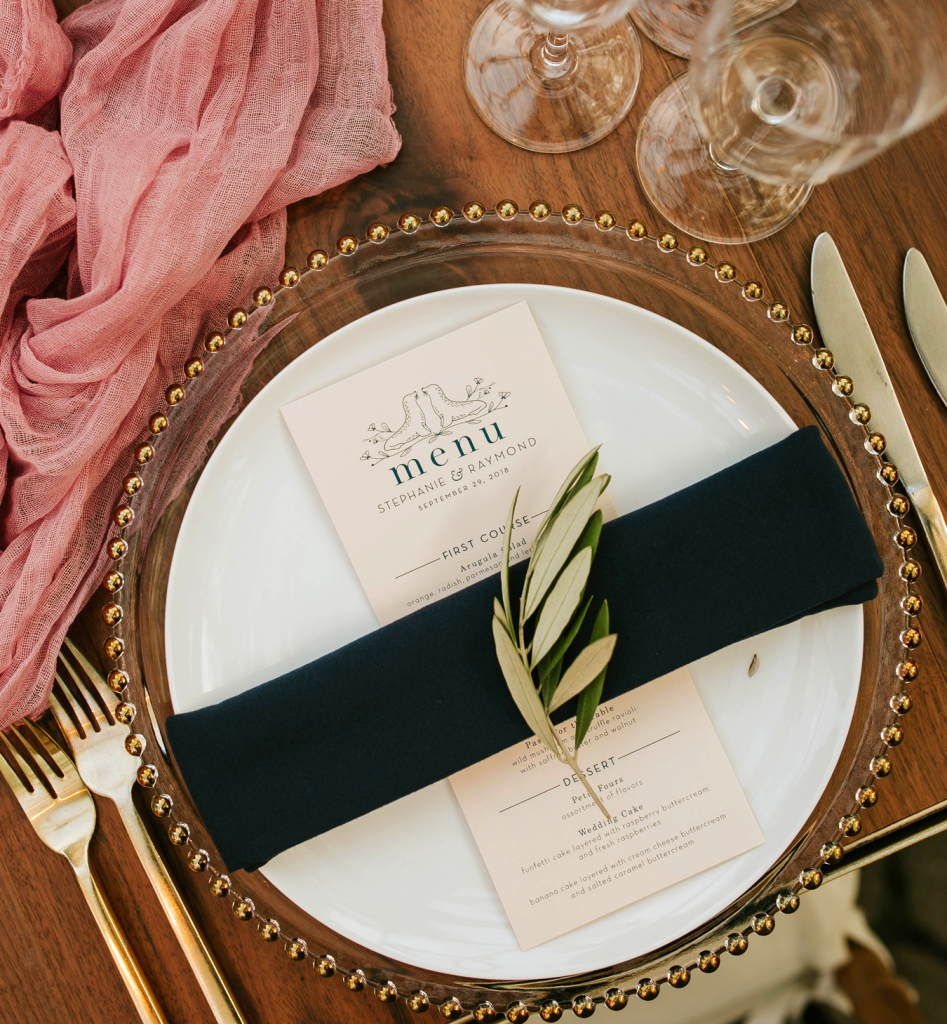 custom wedding menu design, New York City Central Park