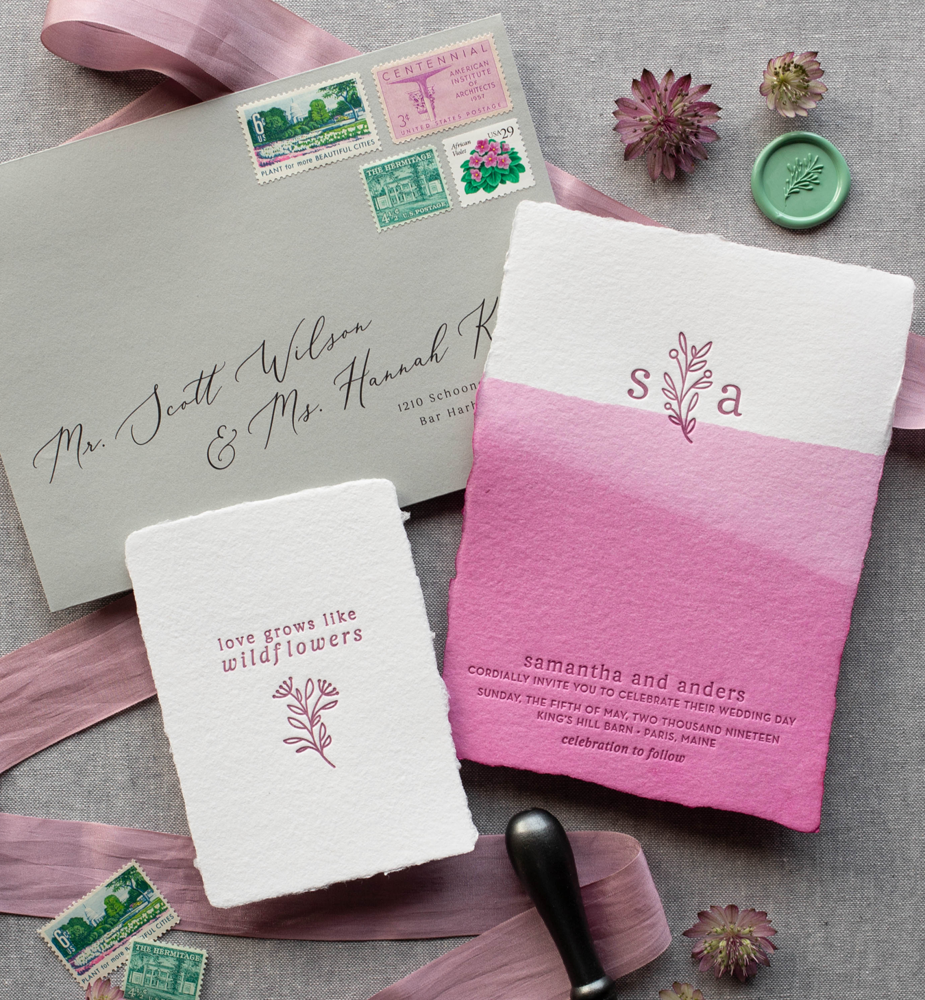 custom dip dyed wedding invitations handmade paper