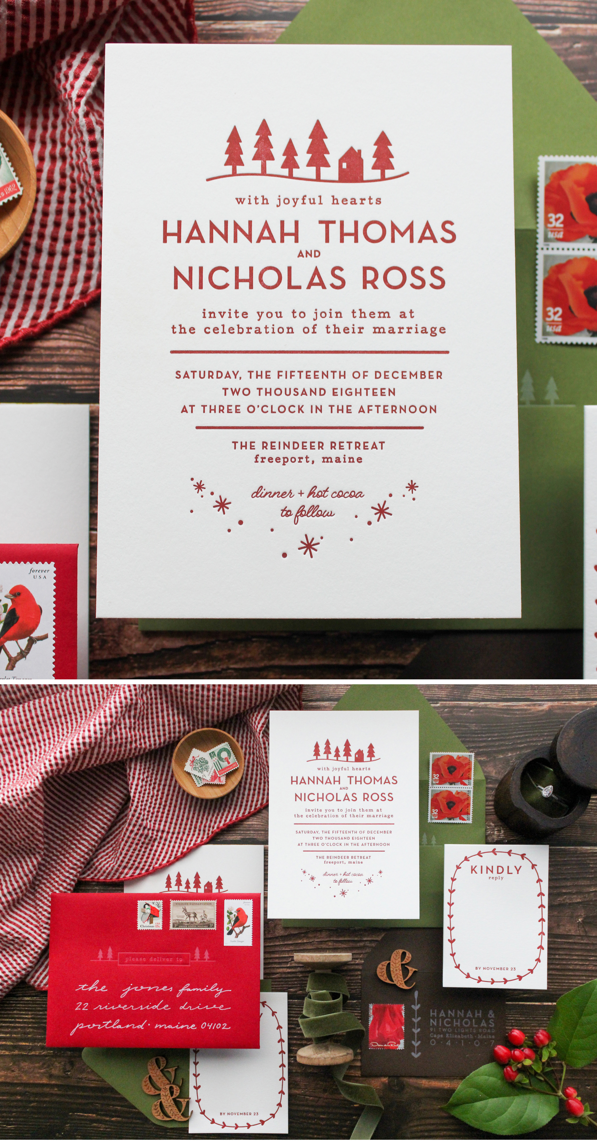 modern scandinavian inspiredwinter wedding invitation, custom designed and letterpress printed