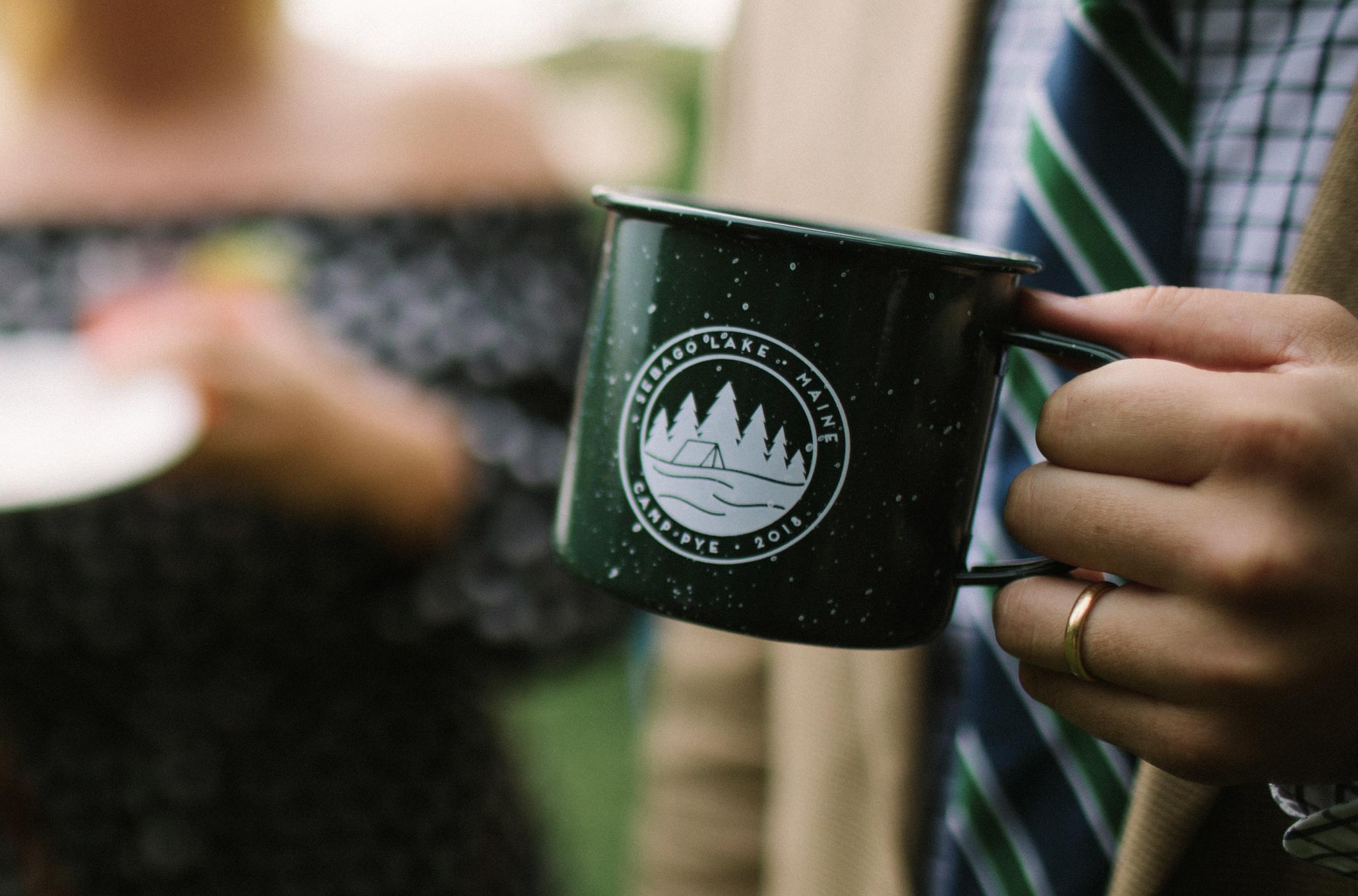 custom designed camp mug for Maine wedding invitations