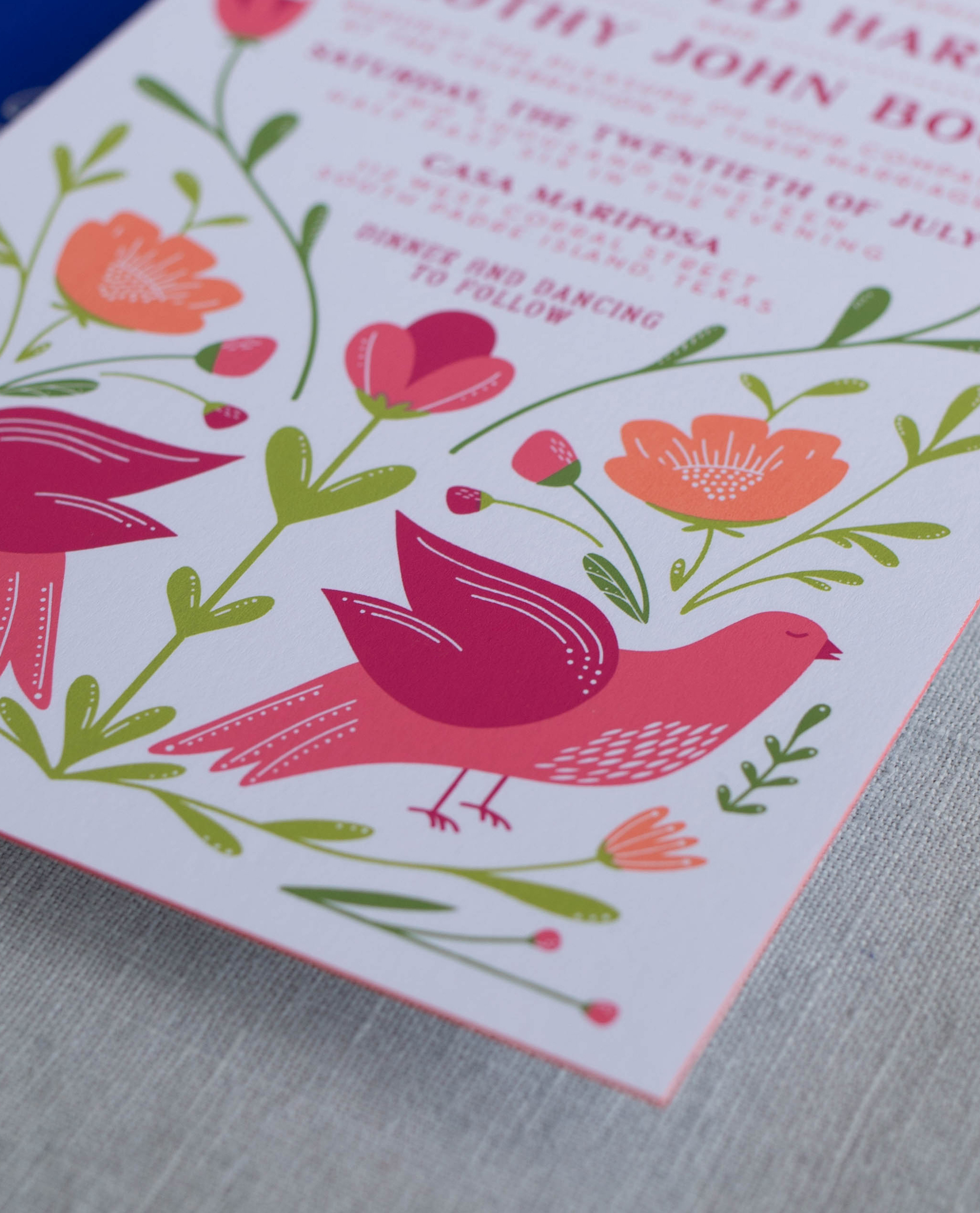 screen printed invitation with painted edges and ombre color