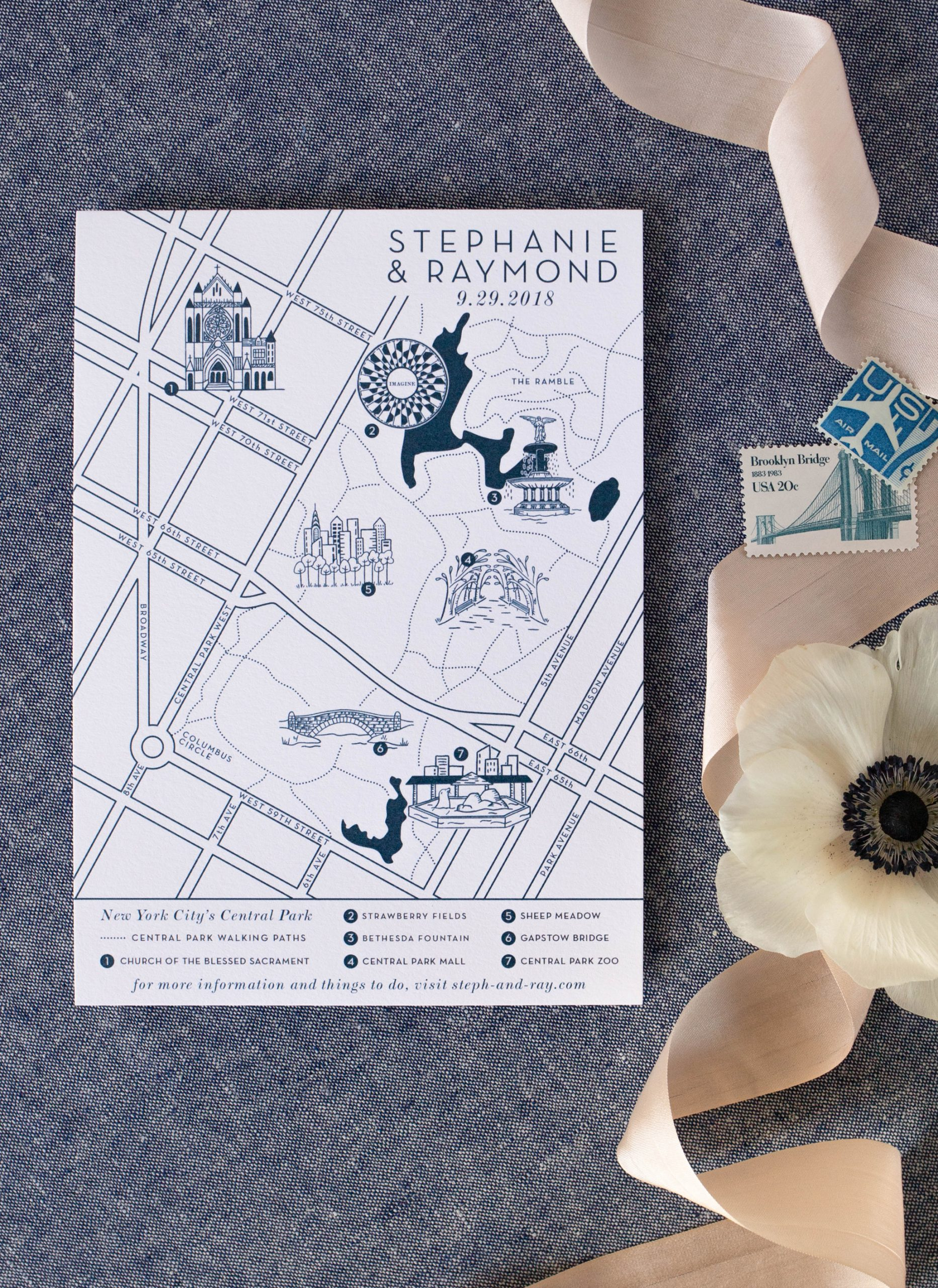 custom illustrated map Central Park wedding in nyc