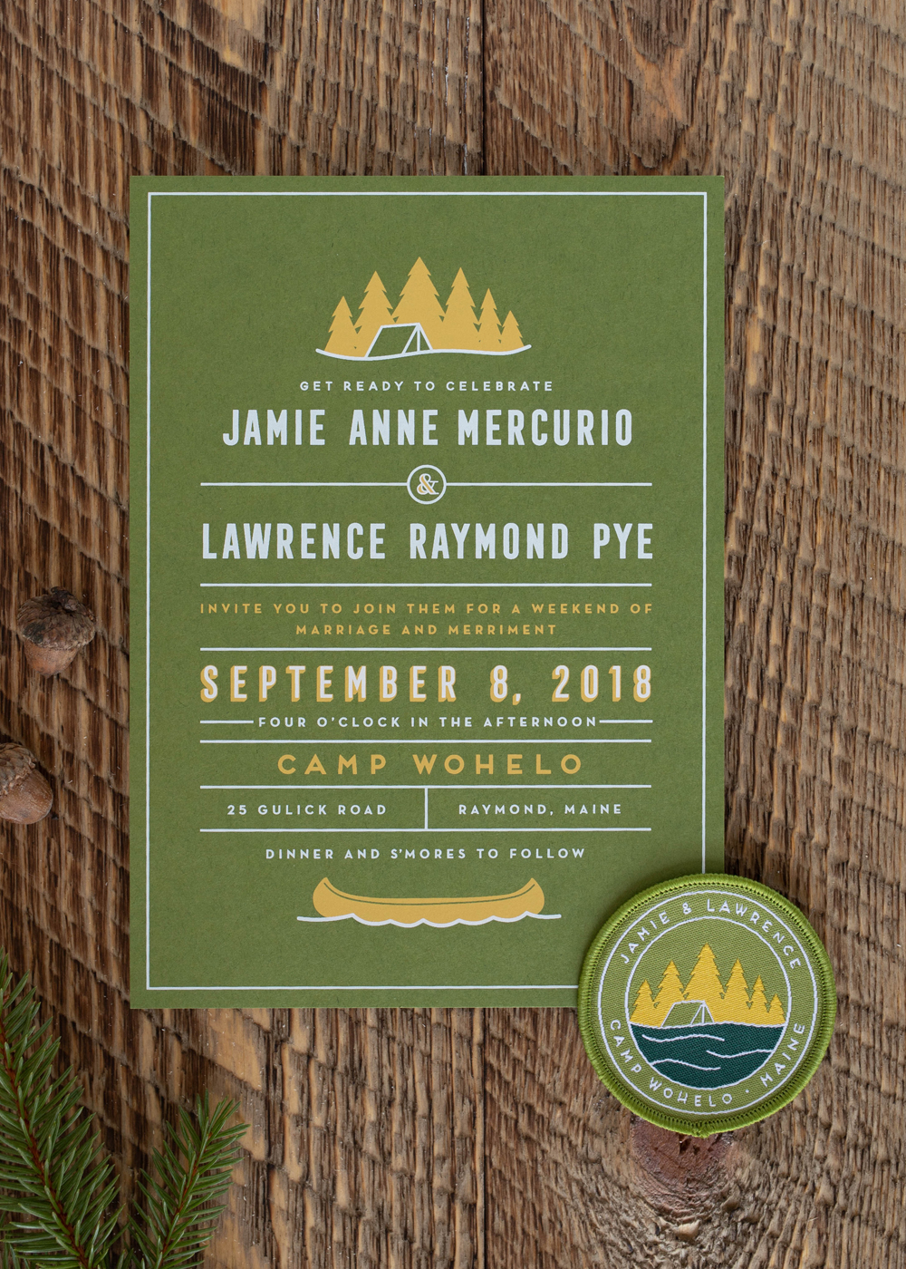 custom invitation Maine camp wedding