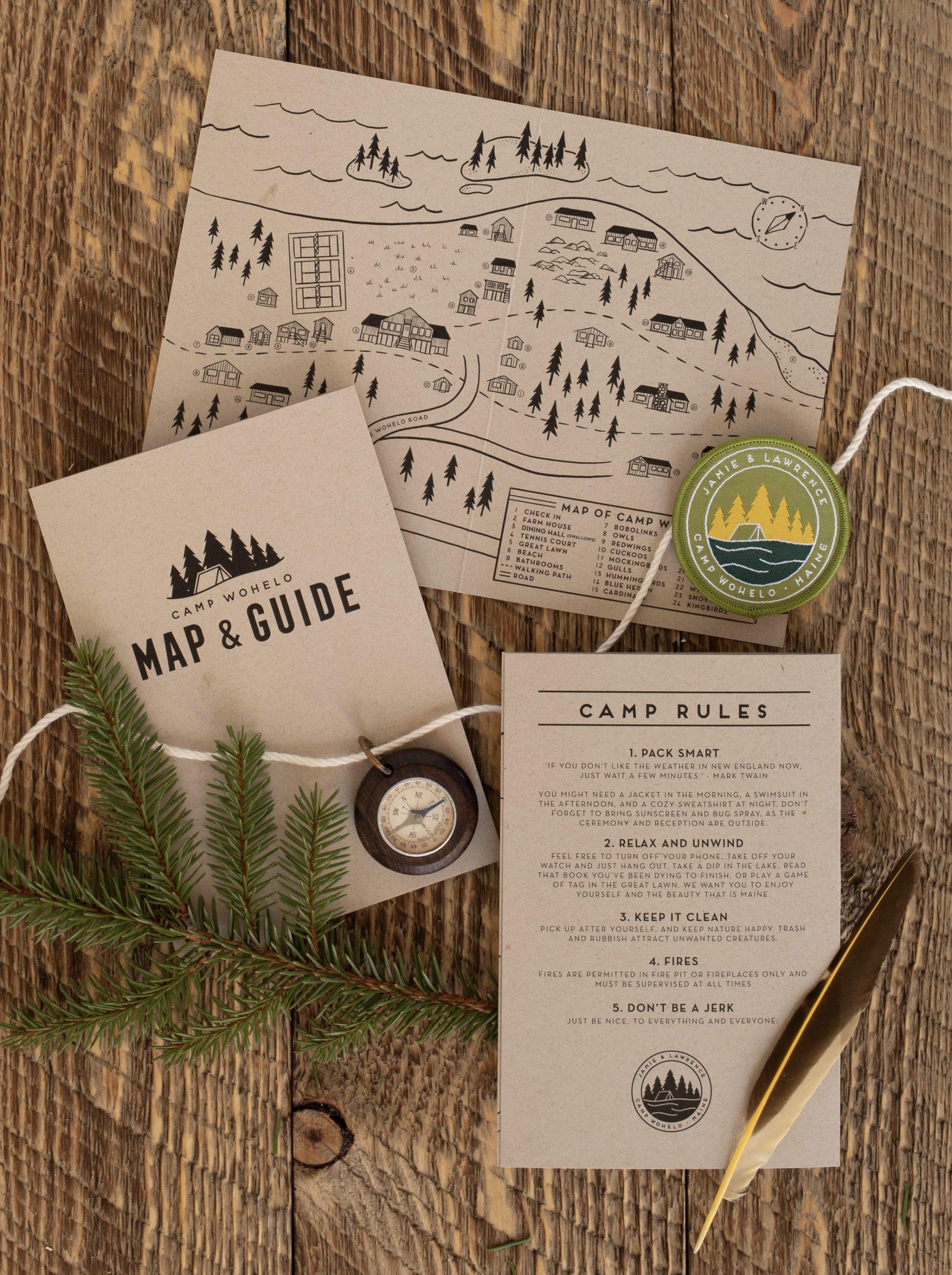 custom wedding map, Maine summer camp, custom illustrated