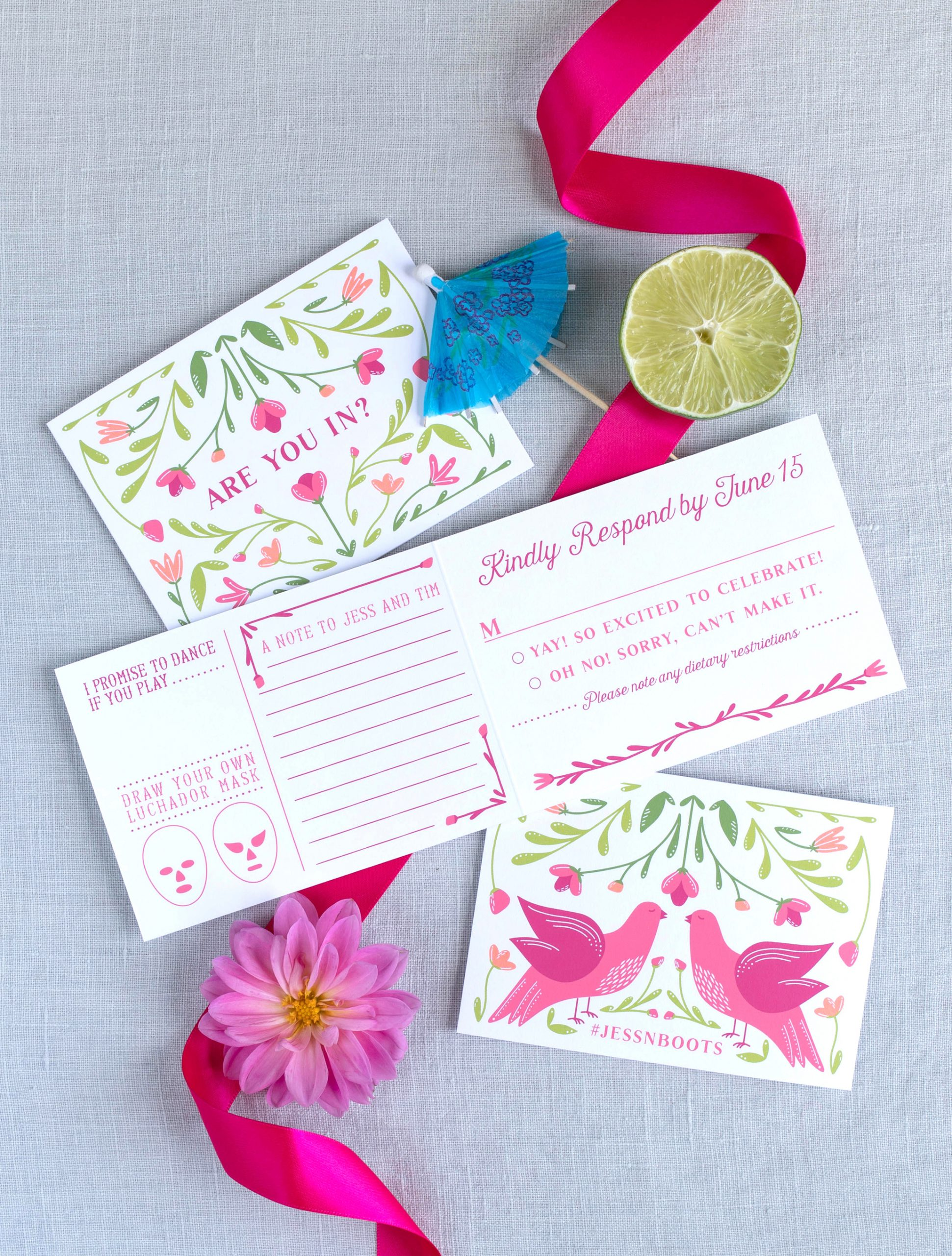 a fun modern tropical wedding invitations, with original illustration and original rsvp card,