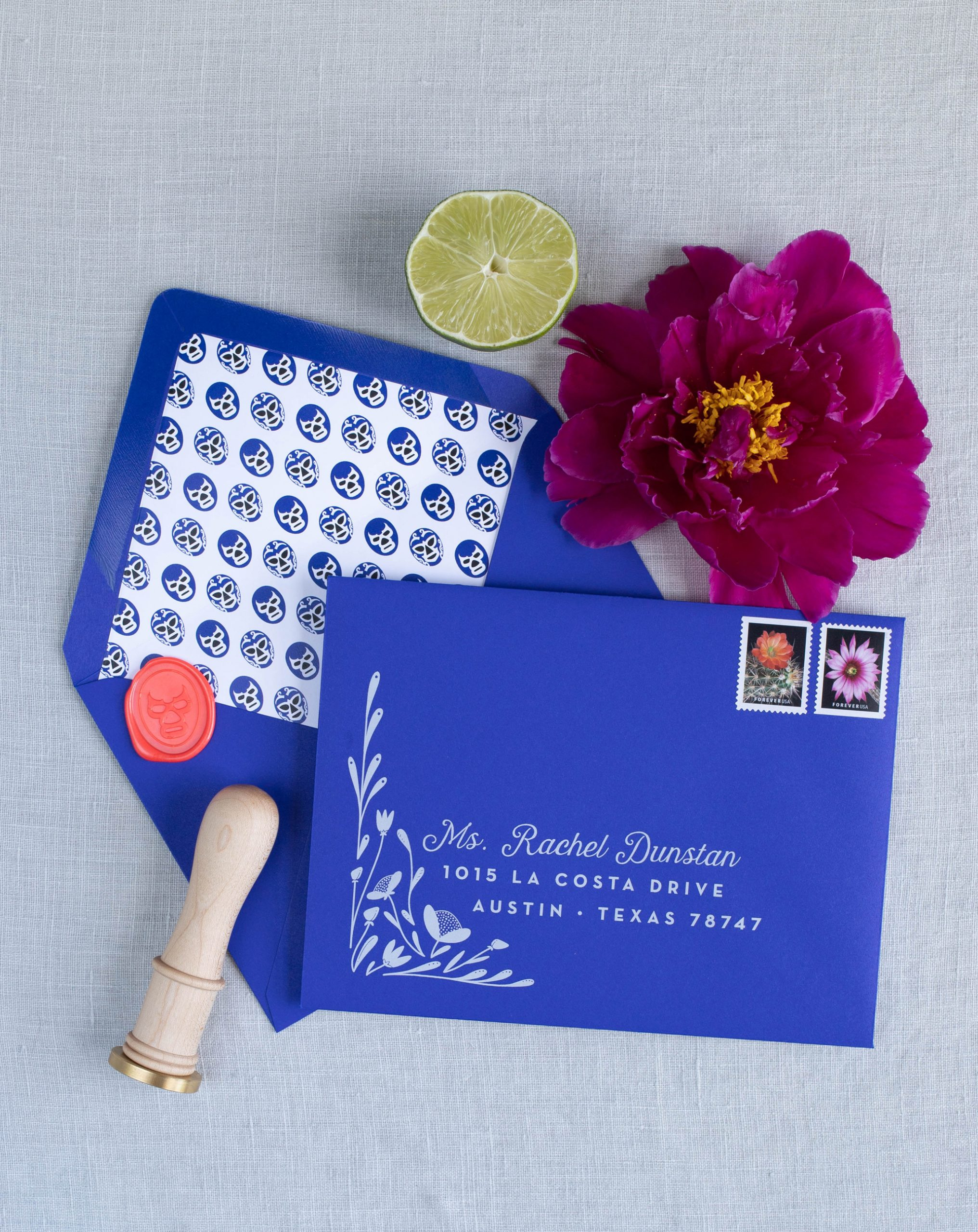 fun modern wedding invitations with illustrated envelope liner, super fun and original
