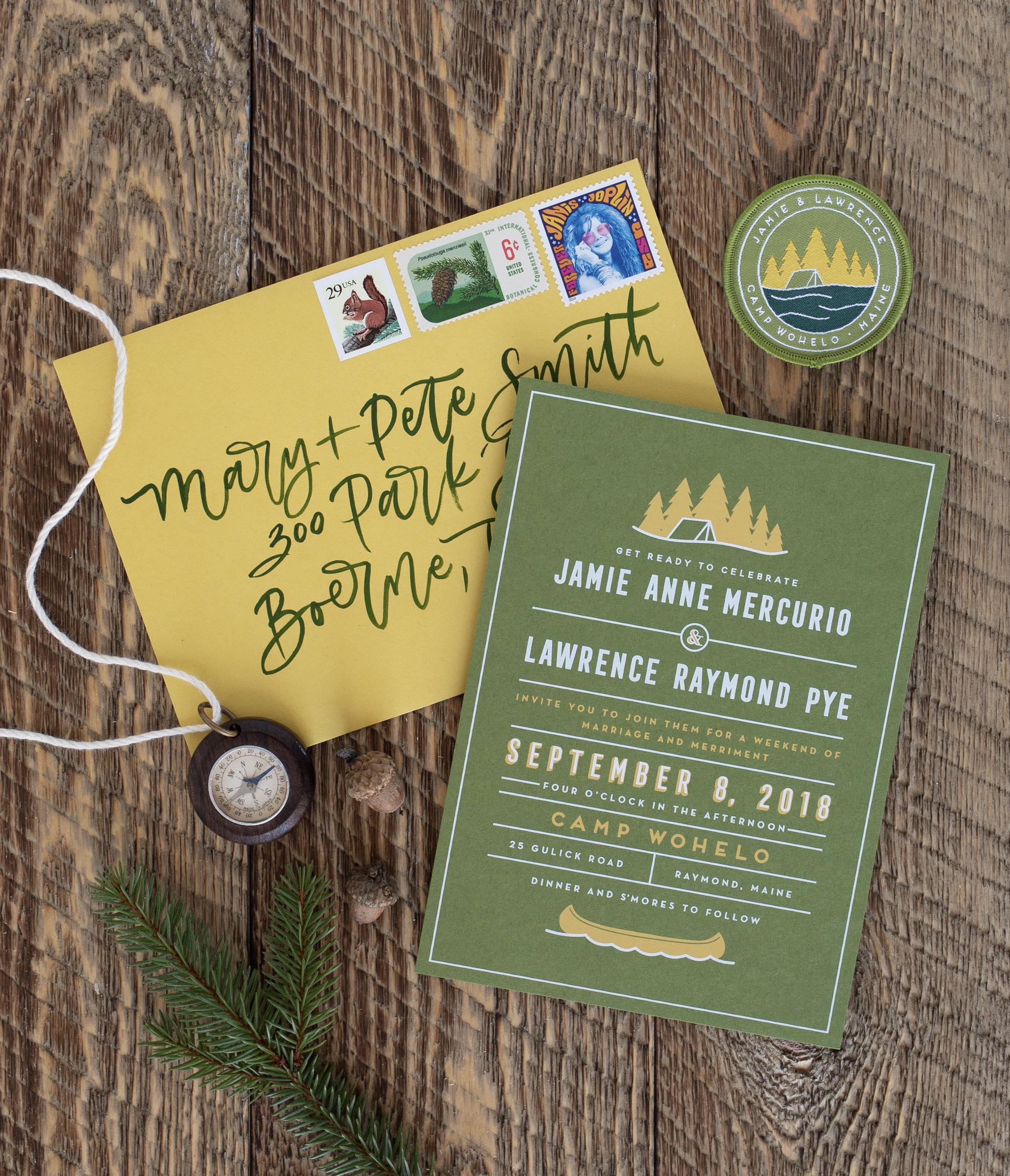hip and modern Maine wedding invitation design