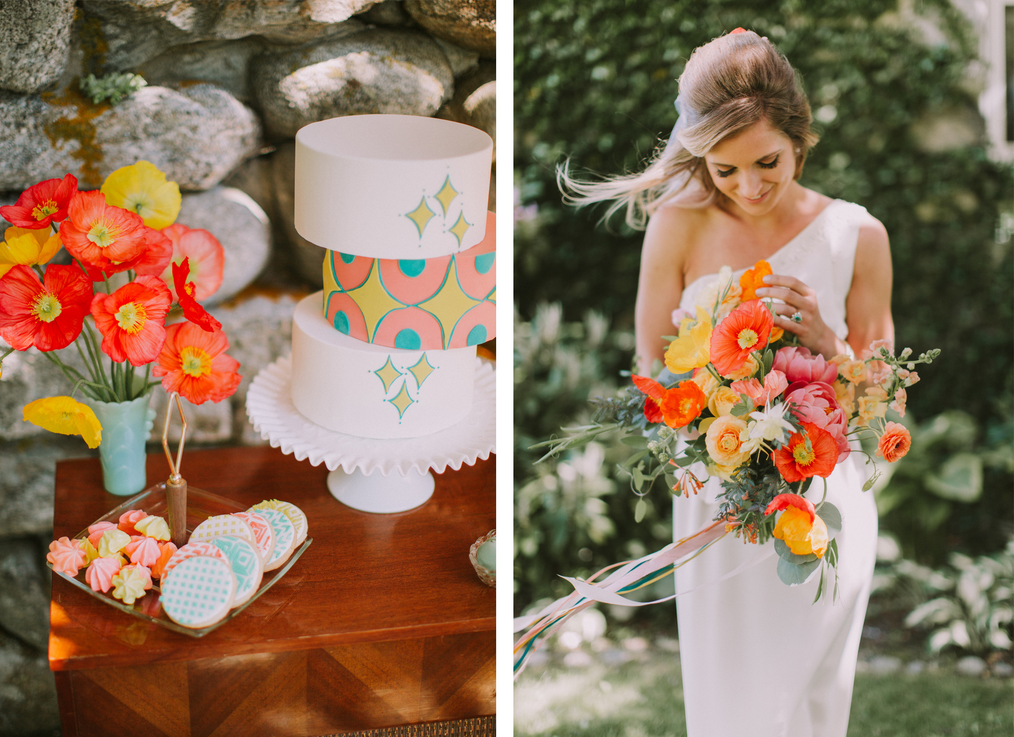 mid century modern wedding inspiration, bright and colorful