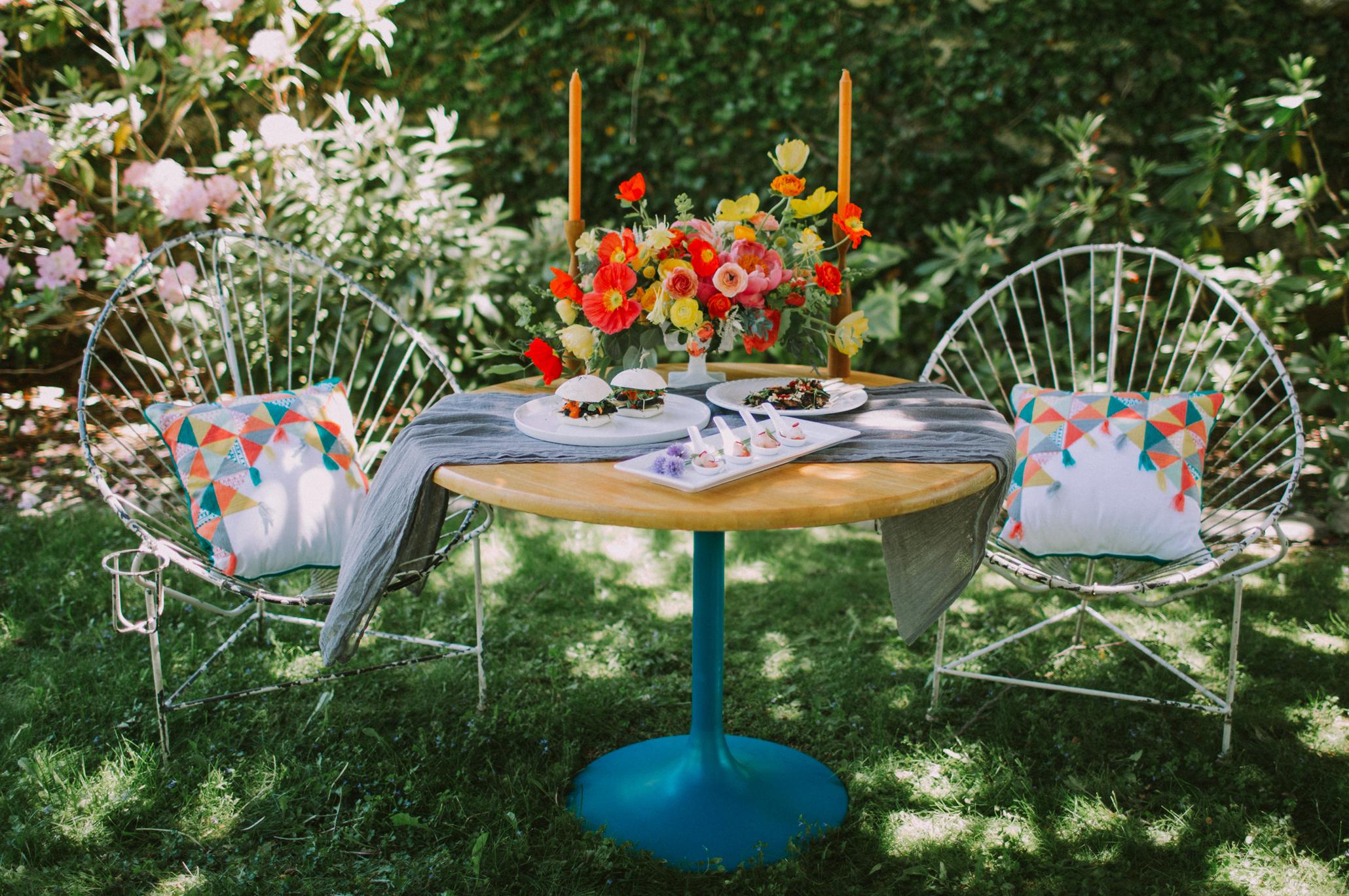 mid-century modern wedding garden party inspiration