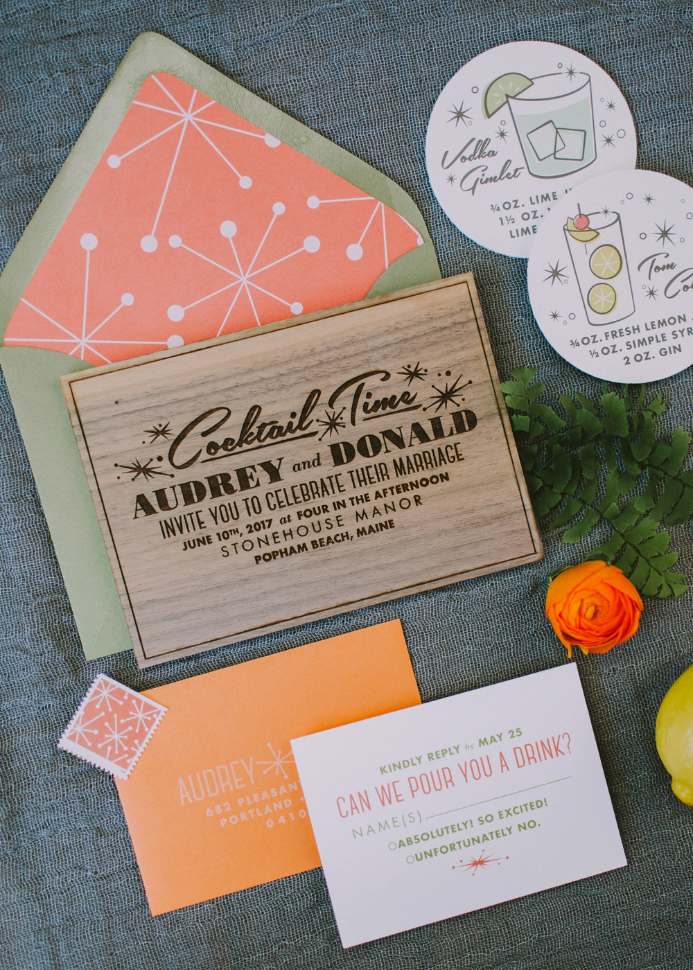 Mid-century modern custom wedding invitations