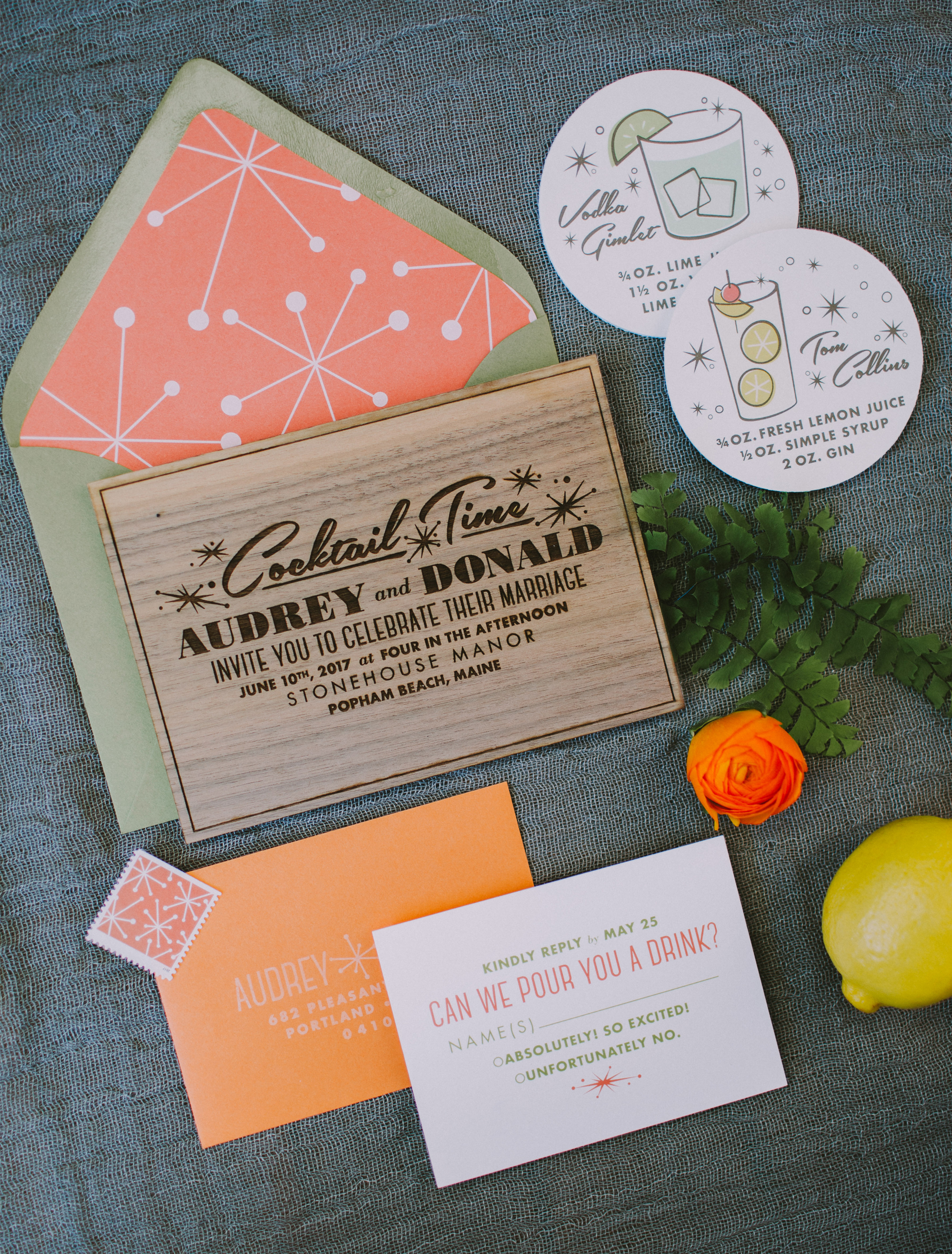 mid-century modern wedding invitation, custom design, modern Palm Springs, Vegas wedding invitation suite, with matching cocktail stirrers and coasters and napkins