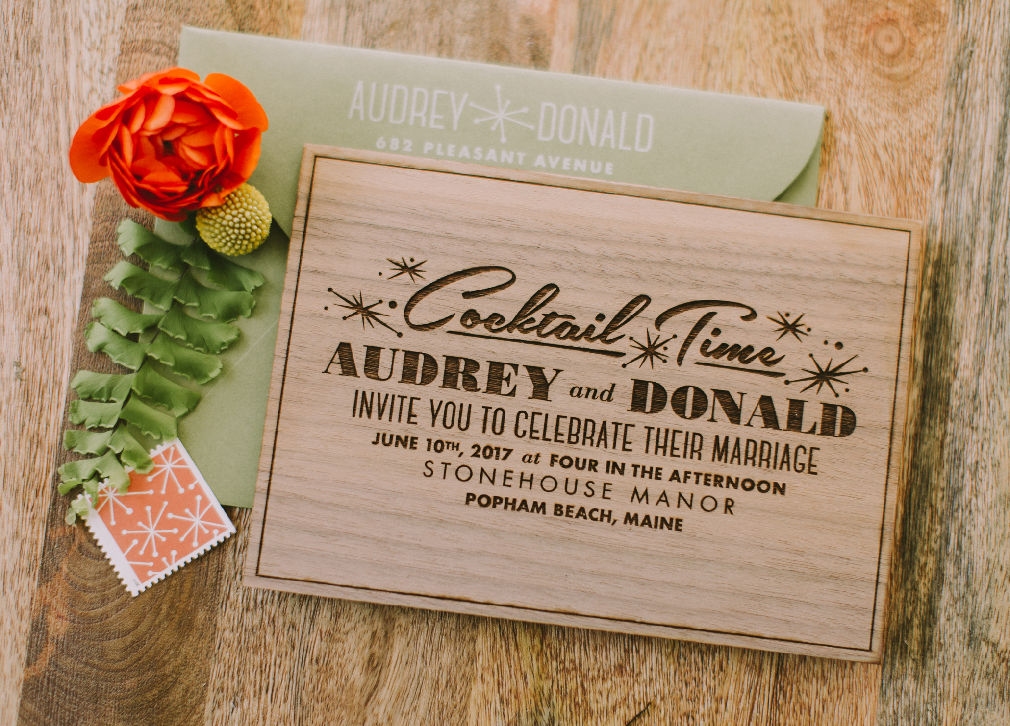 mid-century modern wedding invitation design, custom designed Las Vegas Palm Springs retro wedding invitation suite, luxury one of a kind original wedding invitation, fun and modern design