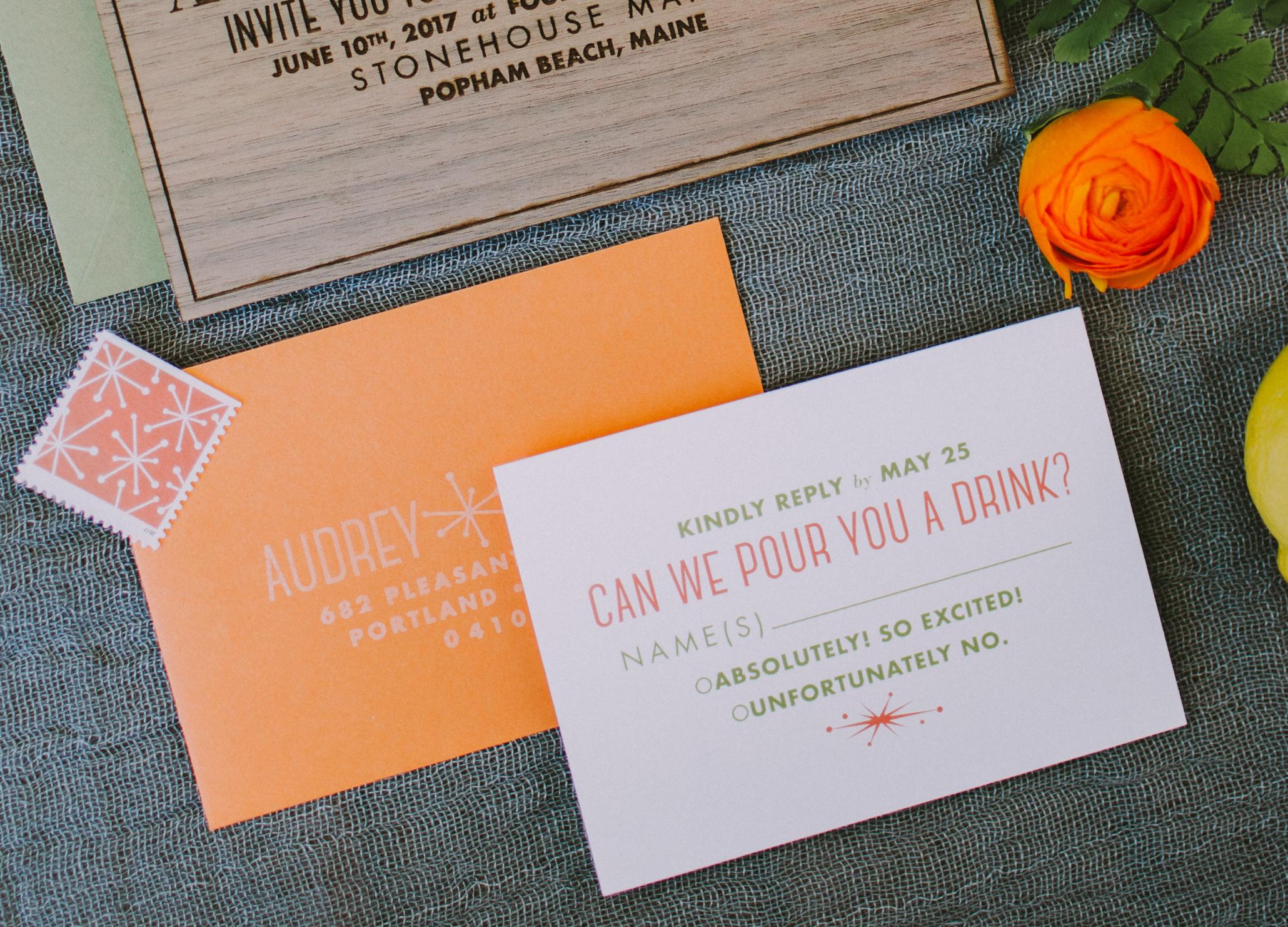 mid-century modern wedding invitation, custom design, modern Palm Springs, Vegas wedding invitation suite, fun rsvp card, bright colors