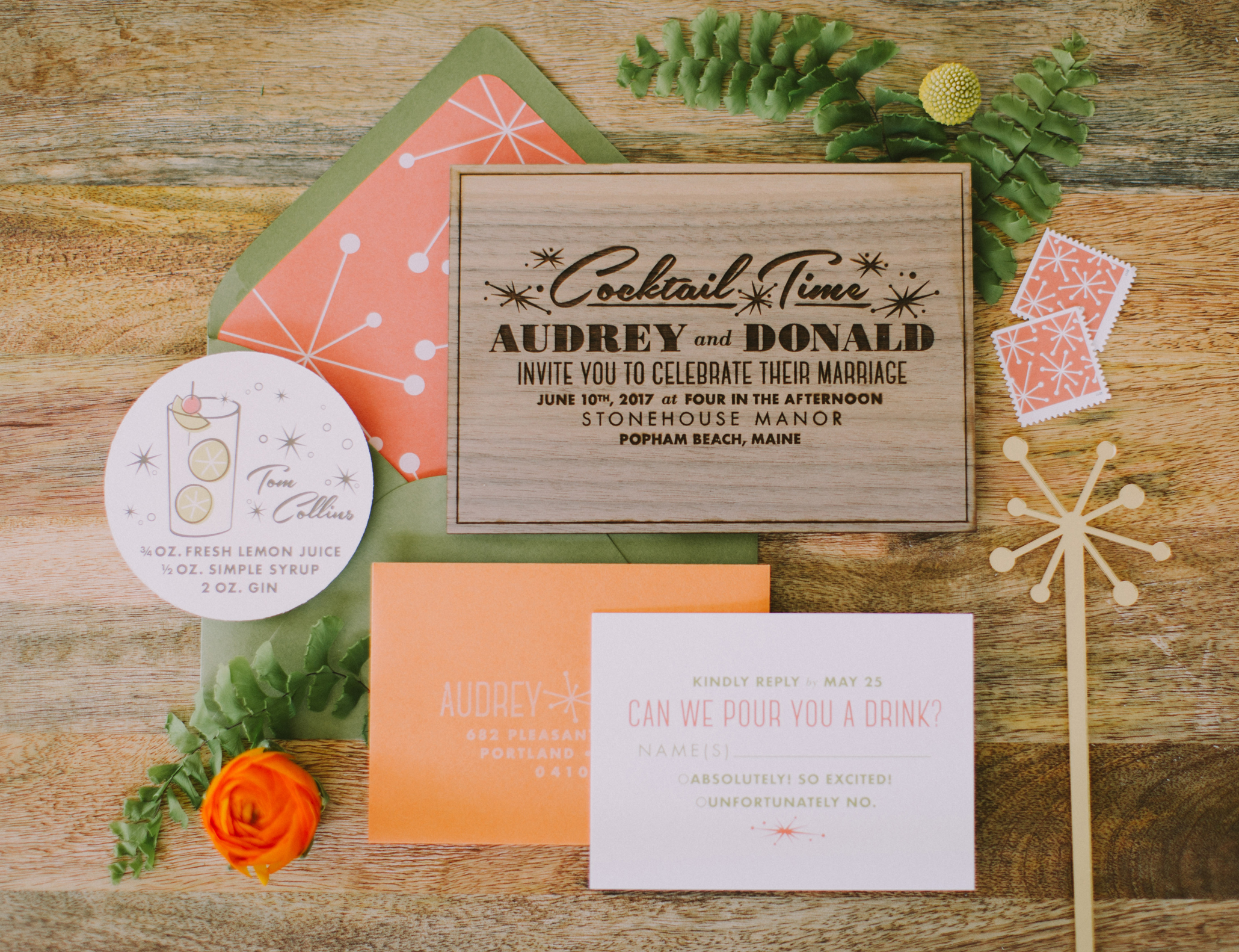 mid-century modern wedding invitation design, custom designed Las Vegas Palm Springs retro wedding invitation suite, luxury one of a kind original wedding invitation, fund and modern