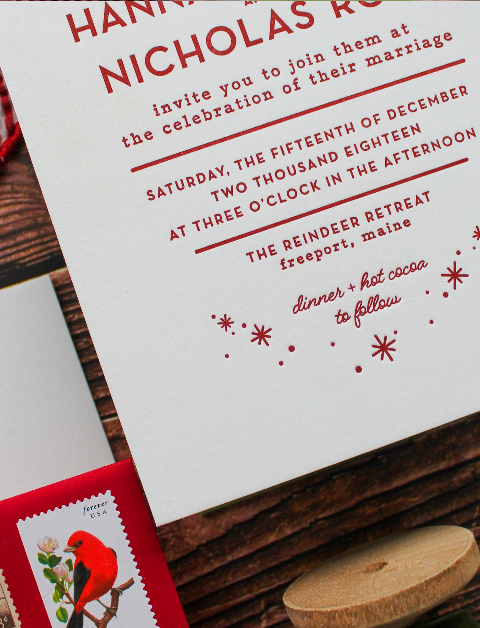 hygge inspired letterpress wedding invitation suite, cotton paper