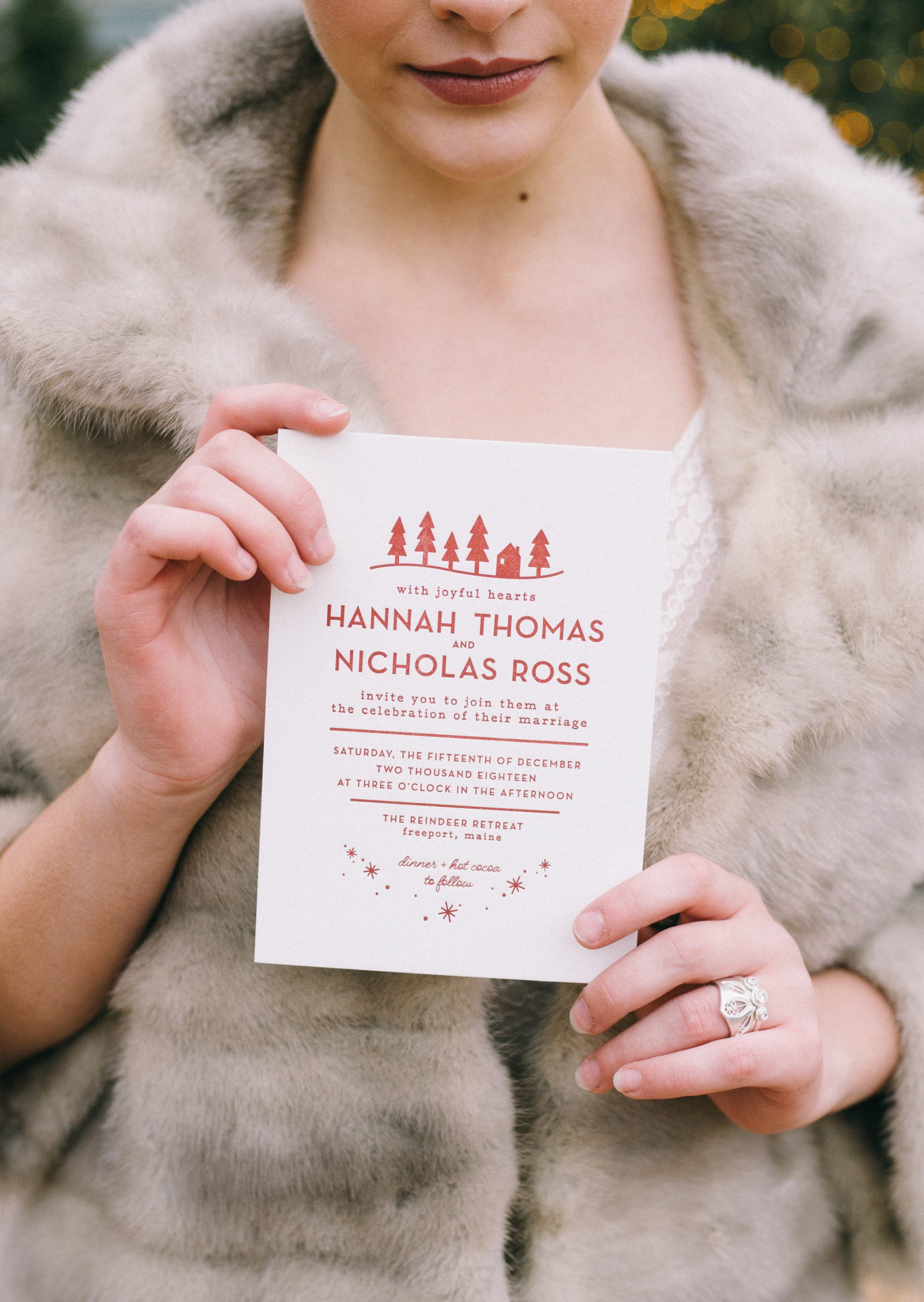 Unique Modern letterpress wedding invitation suite, inspired by Scandinavian winter design