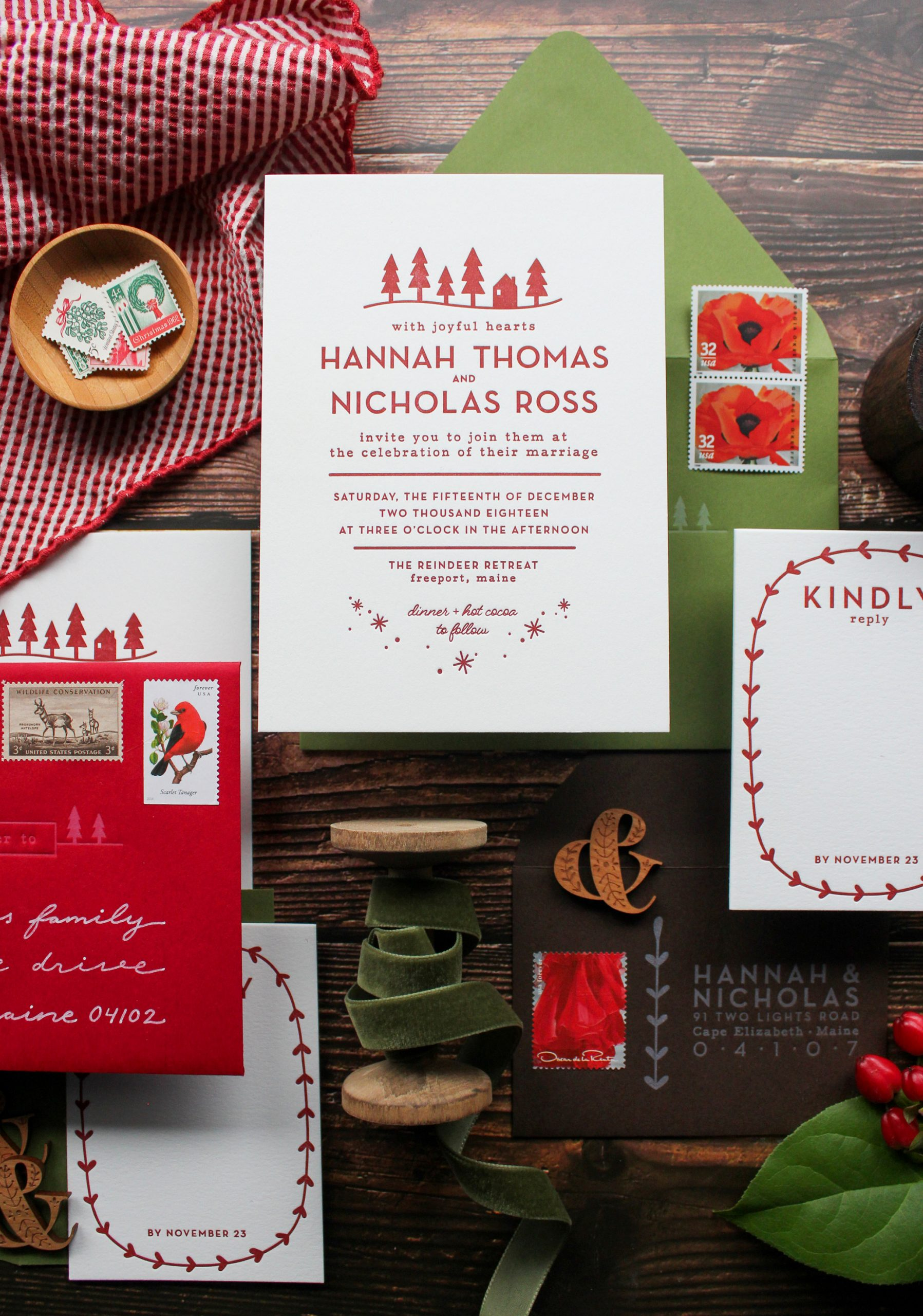 modern Scandinavian inspired letterpress wedding invitation suite, unique original custom invitation design