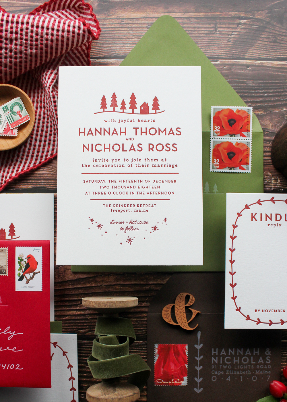 nordic hygge inspired custom letterpress wedding invite