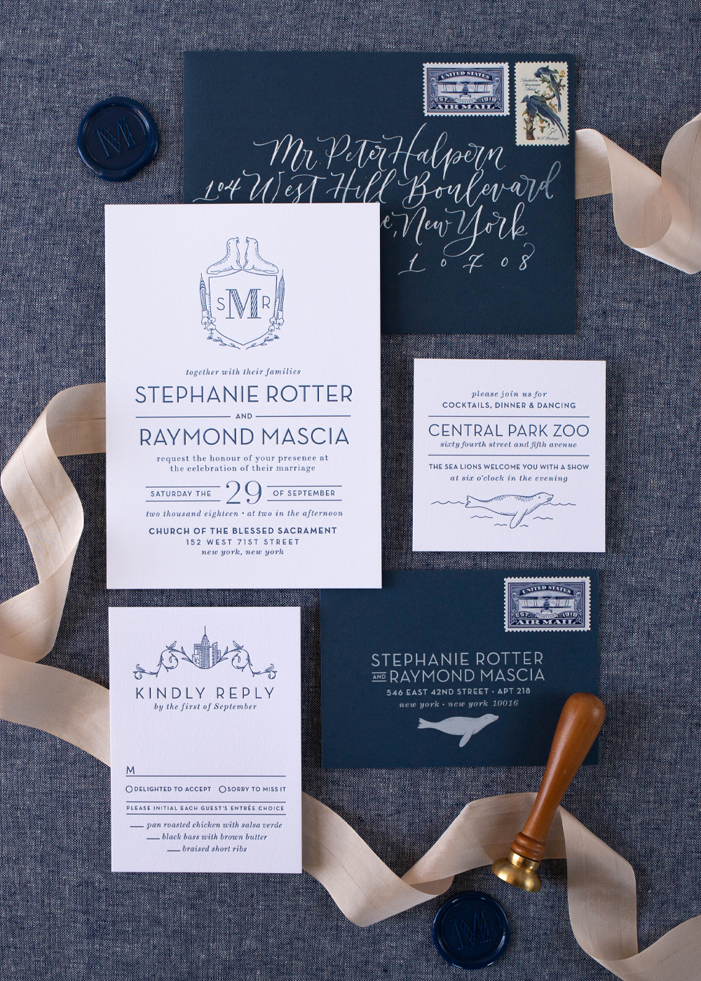 nyc Central Park zoo wedding invitation