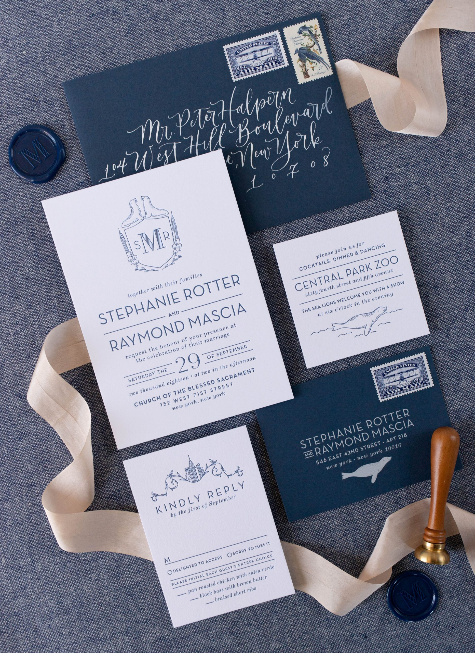 custom wedding invitations letterpress nyc Central Park with custom illustrations and map
