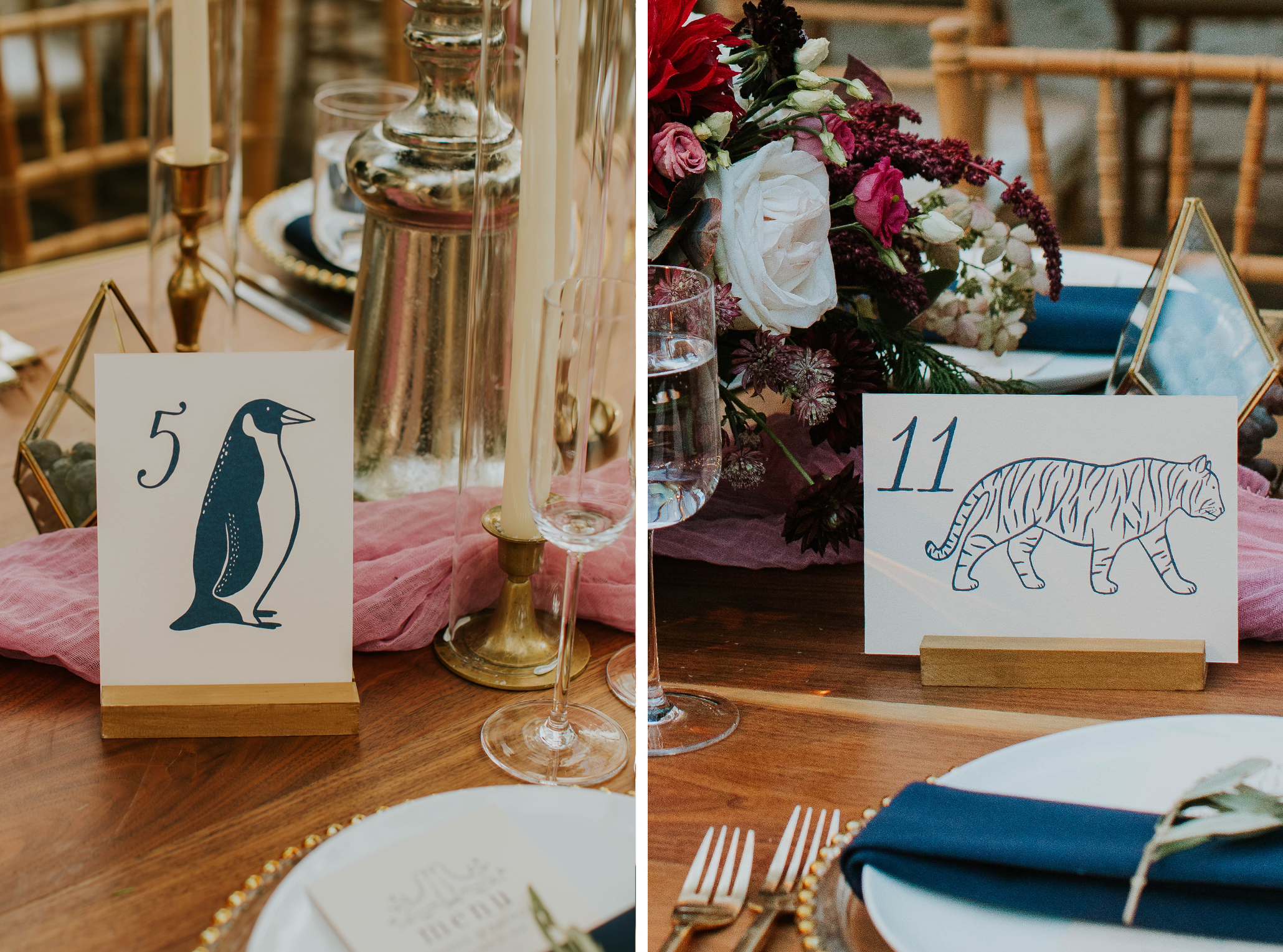illustrated animal table numbers nyc Central Park zoo wedding, custom design wedding invitations and details