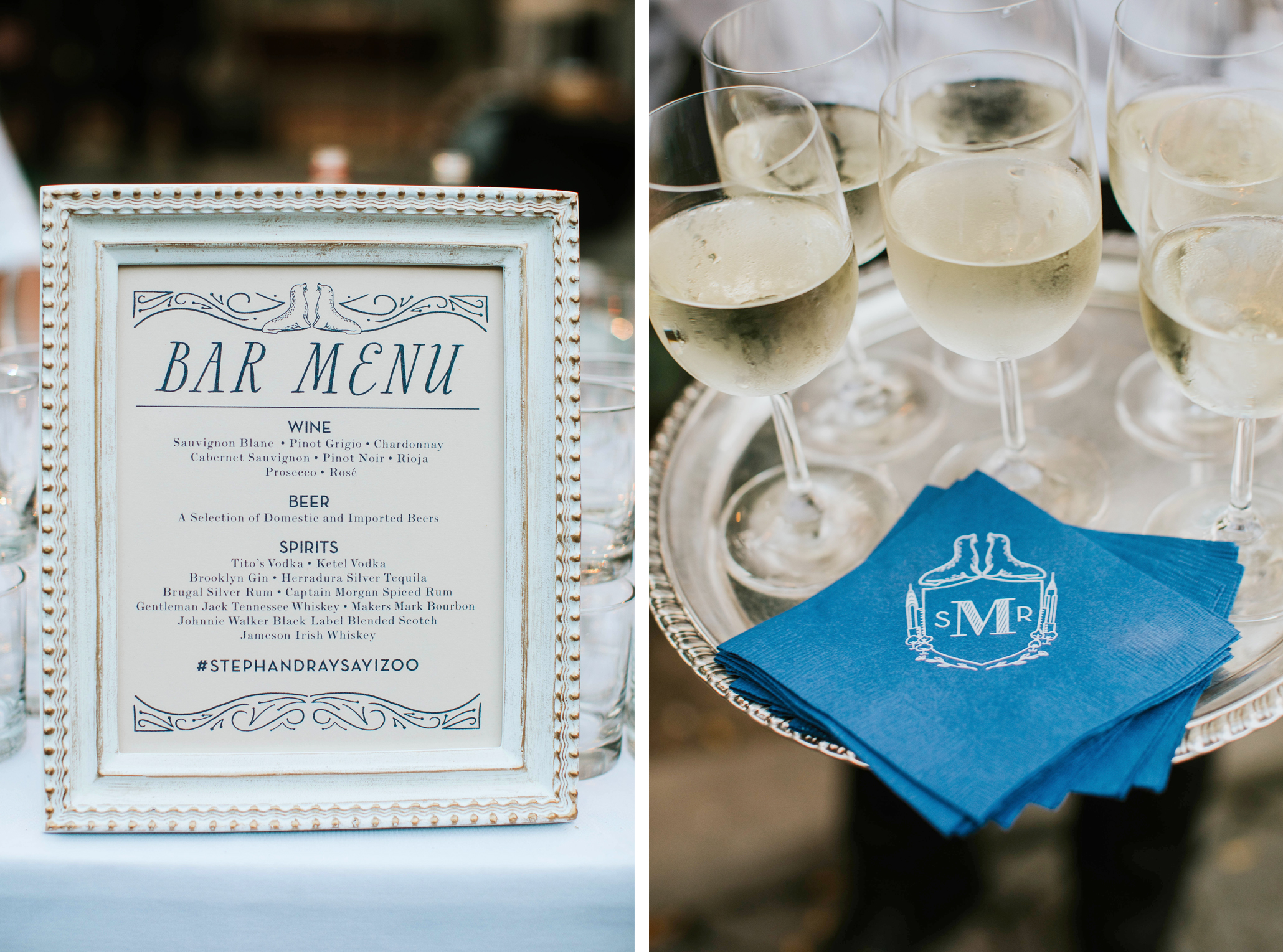 custom wedding signage for bar, with custom cocktail napkins, nyc Central Park wedding