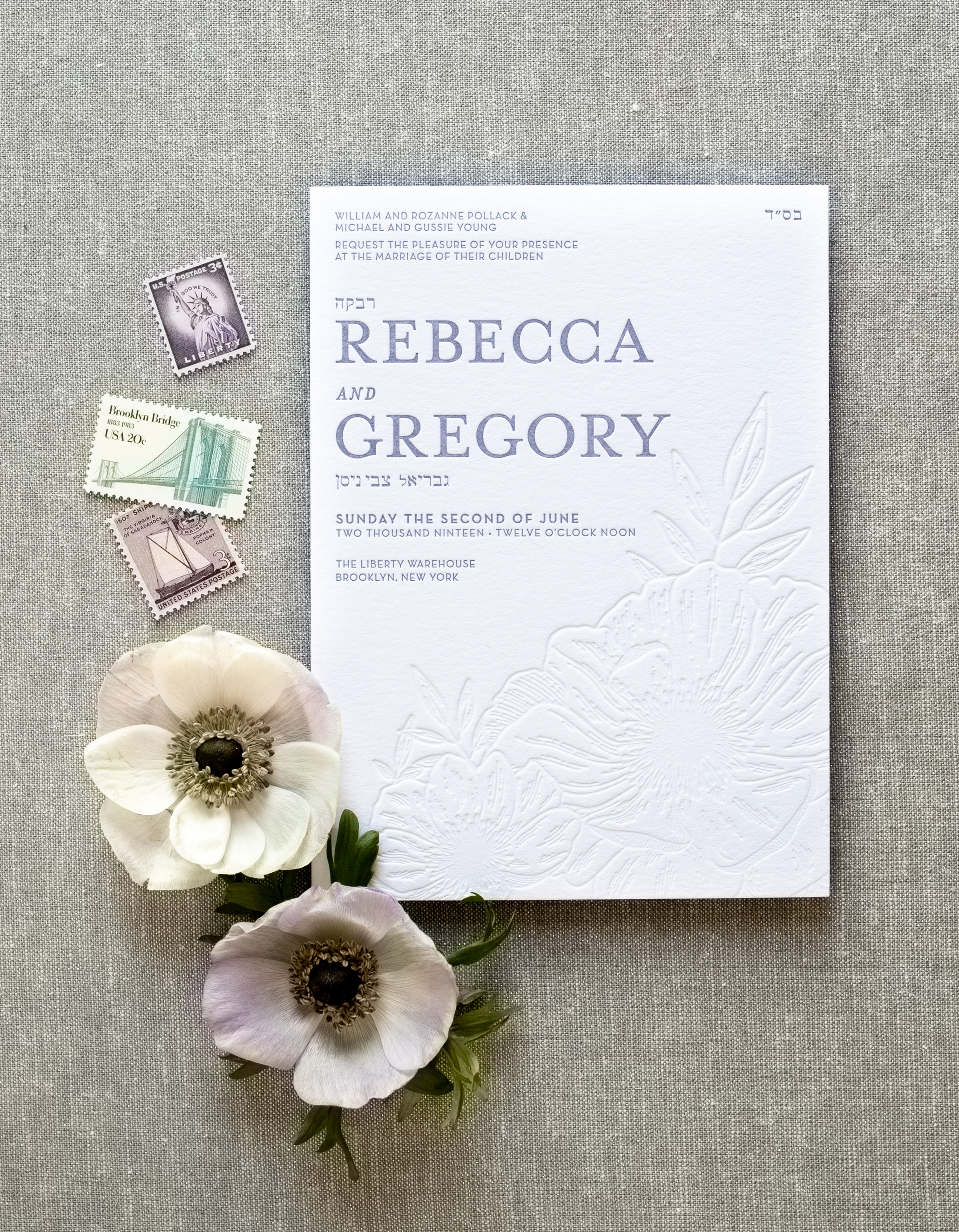 modern unique cool wedding invitations, custom designed and letterpress printed, inspired by flowers and nature, anemone illustration, blind letterpress