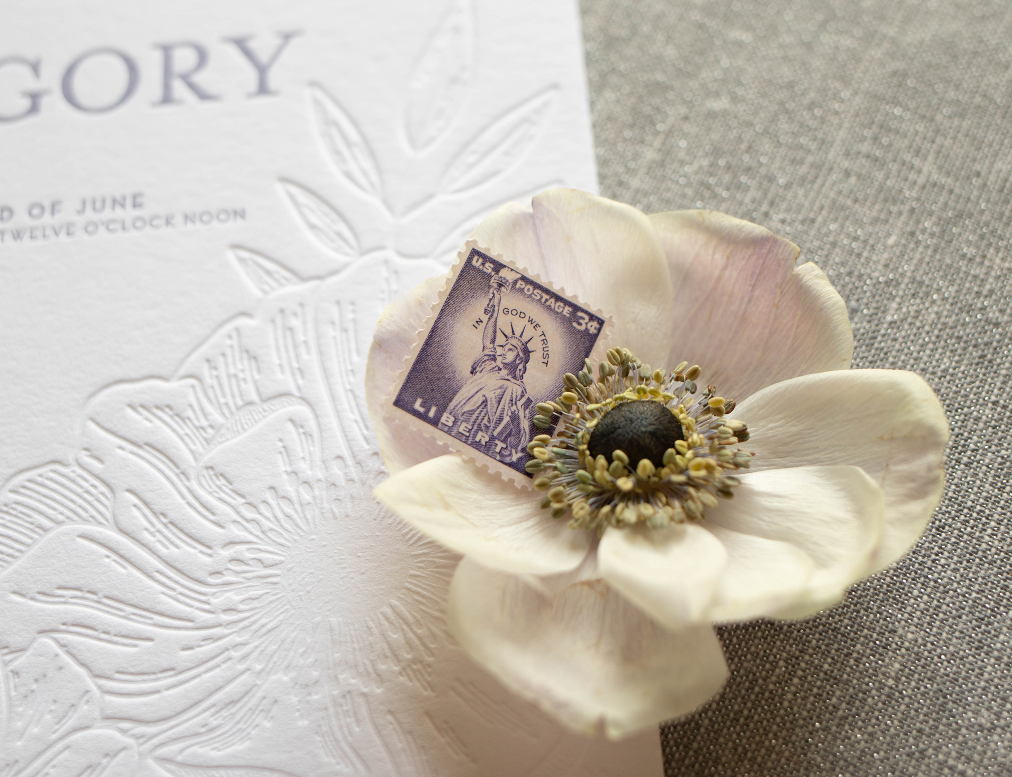 unique modern letterpress wedding invitation, floral illustration inspired by nature