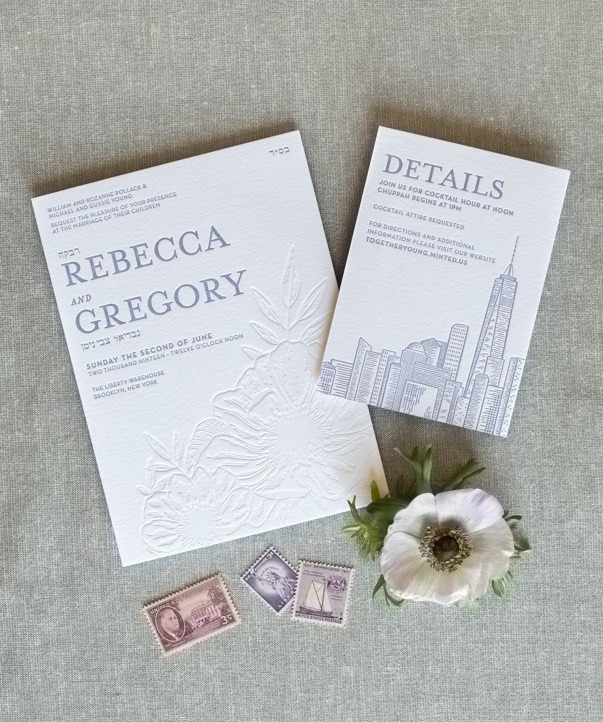 unique modern luxury letterpress wedding invitations, fun and exciting, not boring, nyc Brooklyn wedding