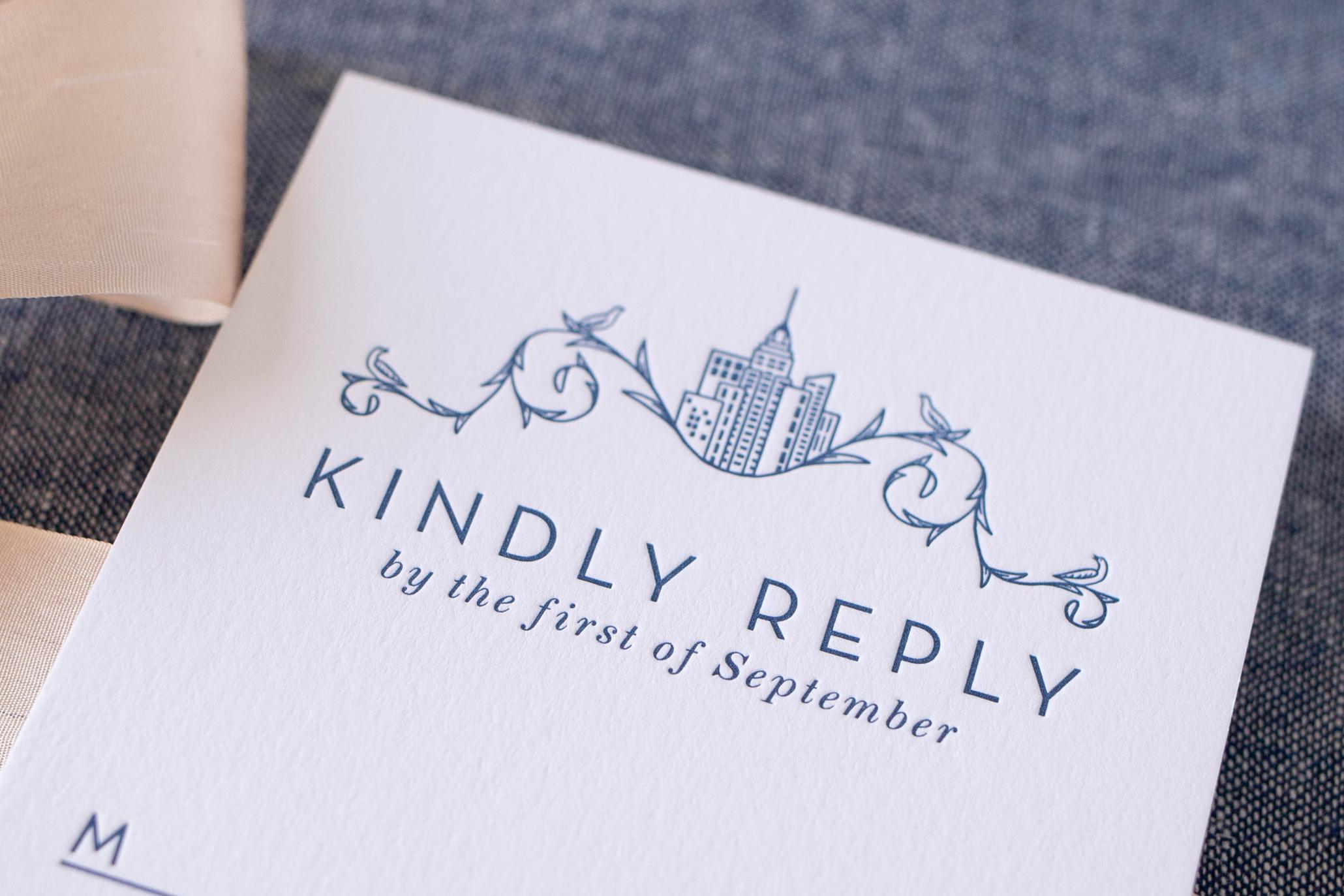 luxury letterpress invitation detail - deep impression