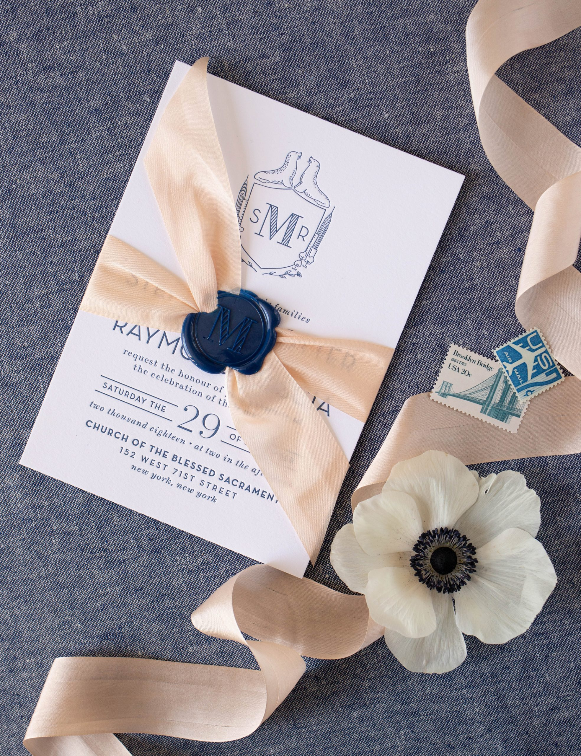 modern silk ribbon with wax seal wedding invitation, nature inspired, NYC Central Park wedding