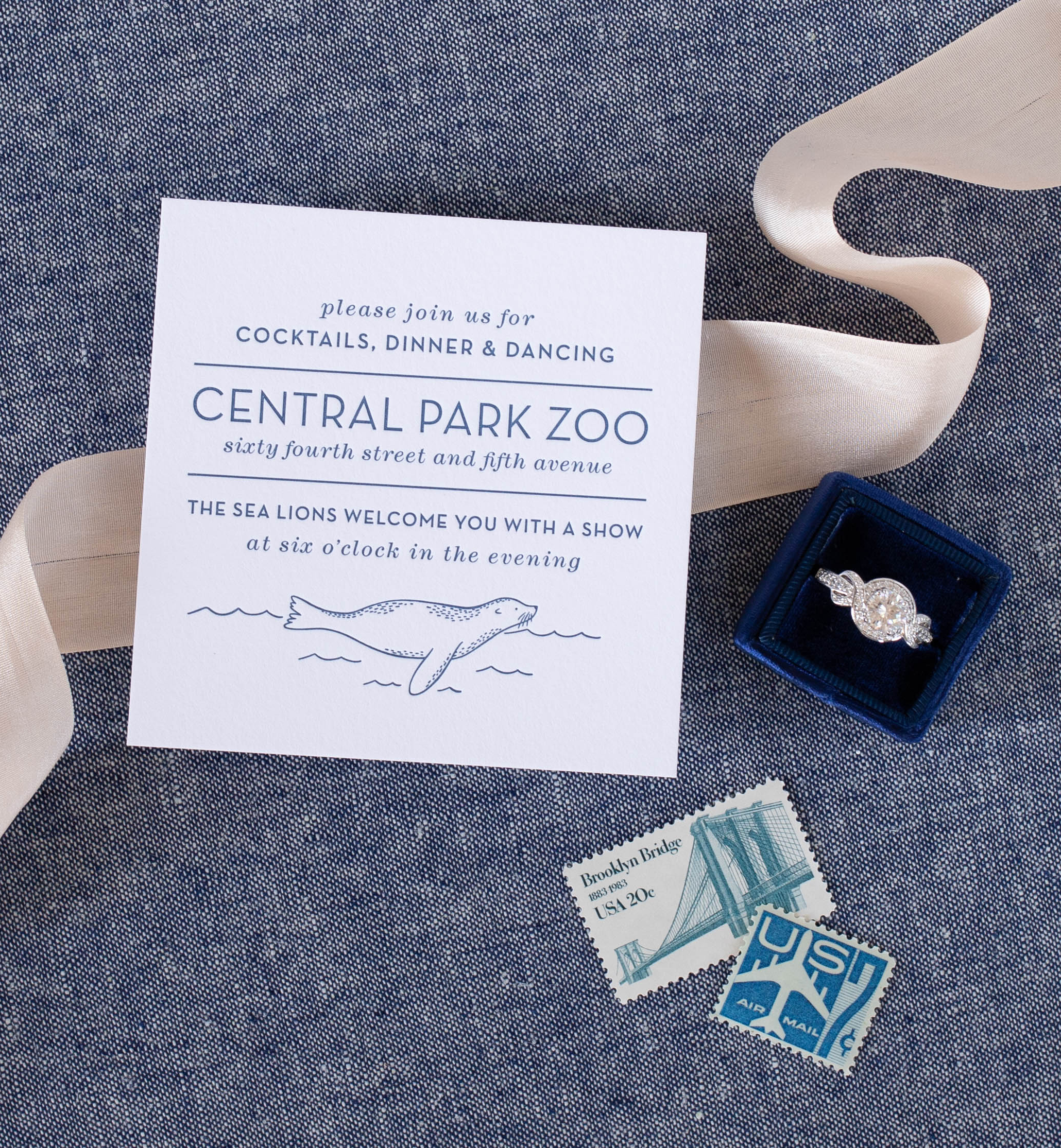 illustrated info card = nature inspired animal illustrations - Central Park zoo wedding