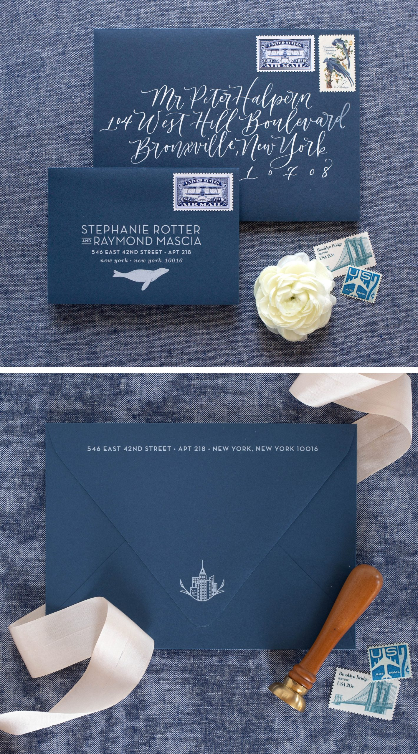 custom illustrated wedding invitation envelopes, unique modern letterpress invitations inspired by nature