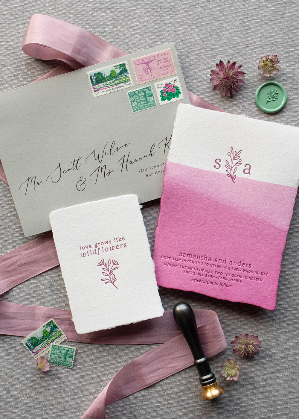 original and creative wedding invitation suite, nature and floral inspired, letterpress printed with original illustration, hand dyed